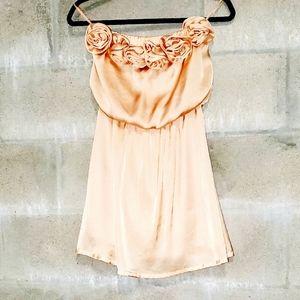 Pastel Peach rose bud strapless dress